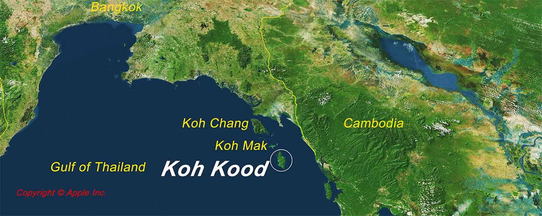 Carte de l'emplacement de Koh Koods dans le golfe de Thaïlande et carte détaillée de Koh Kood