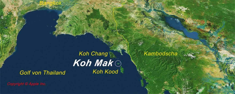 Karte zur Lage Koh Maks im Golf von Thailand detaillierte Koh Mak Karte