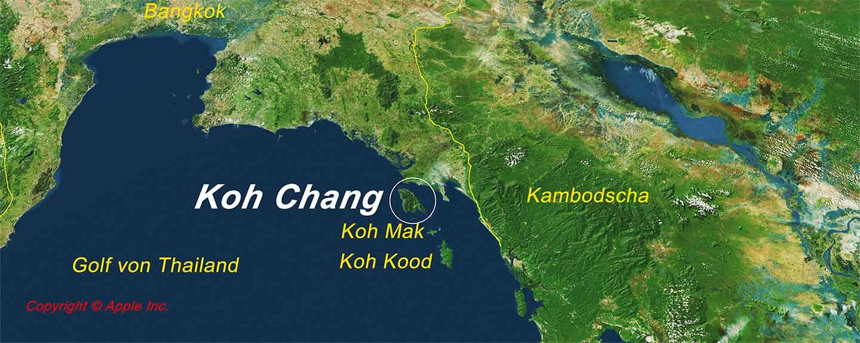Carte: Situation Géographique de Koh Chang dans le golfe de Thaïlande